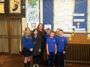 Anne pictured with Bankhead Primary School pupil council class reps