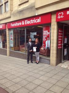 At the BHF shop in Falkirk