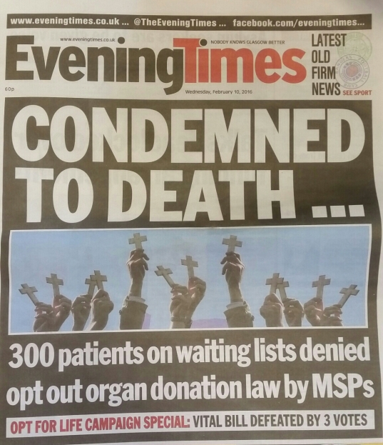 Evening Times front page
